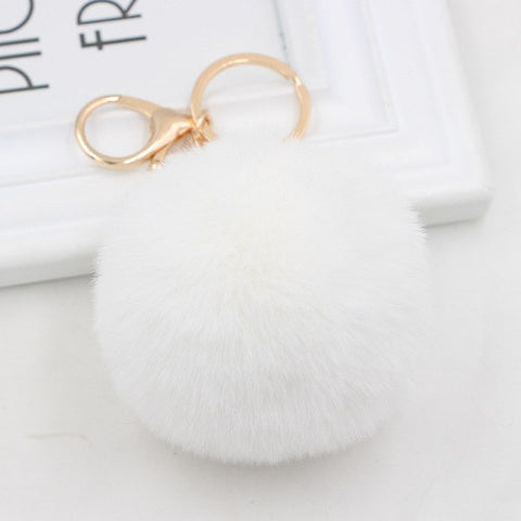 Fluffy Pom Pom Keychain / Bag Charm (Gold) White