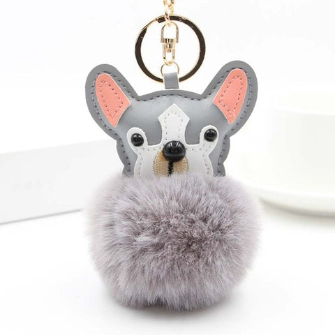 Fluffy Pom Pom French Bull Dog Keychain / Bag Charm Gray