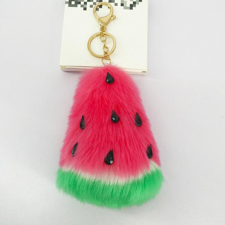 Fluffy Pom Pom Watermelon Keychain / Bag Charm
