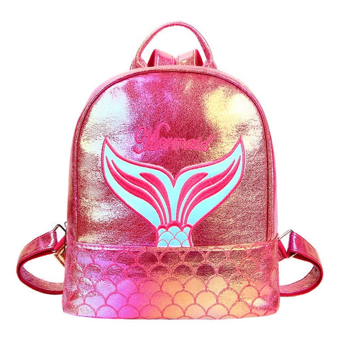 Mini Holographic Mermaid Print Backpack Pink