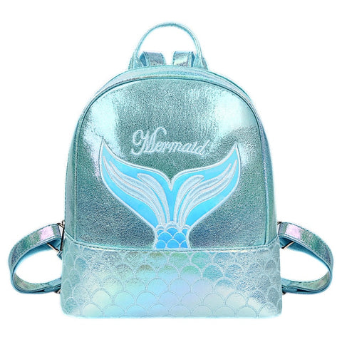 Mini Holographic Mermaid Print Backpack Teal