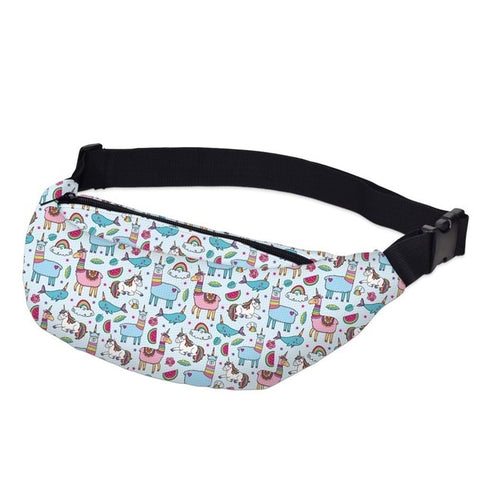 Llama / Unicorn Pattern Fanny Pack Waist Bag Style 1