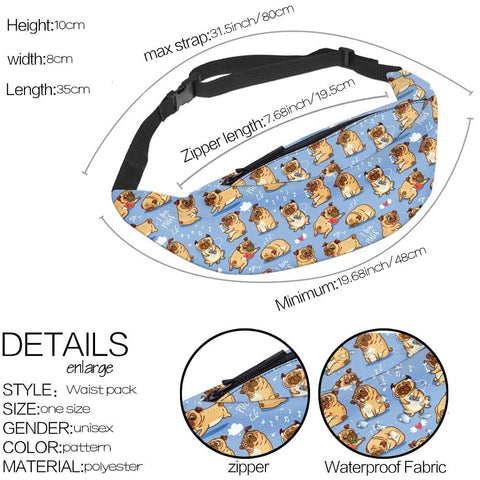 Llama / Unicorn Pattern Fanny Pack Waist Bag