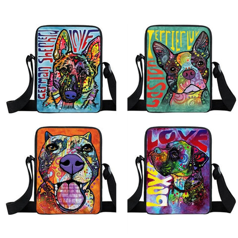 Psychedelic Dog Print Messenger Bag