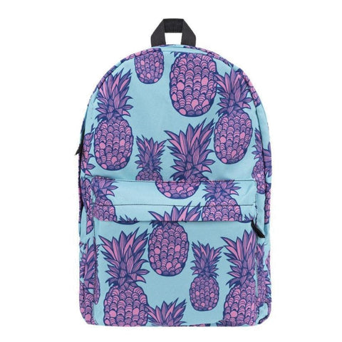 Purple Pineapple Print Backpack