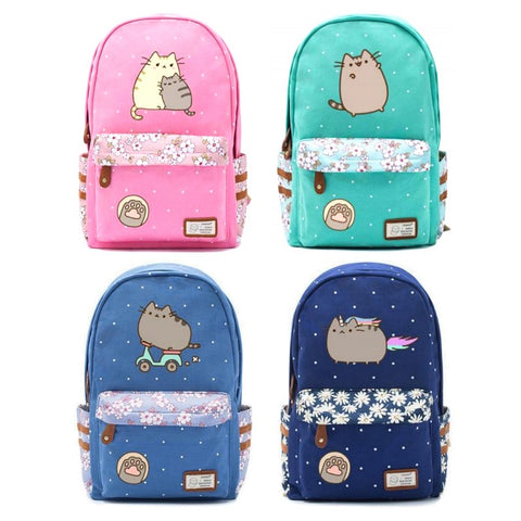 Cute Pusheen Cat Backpack w/ Flowers