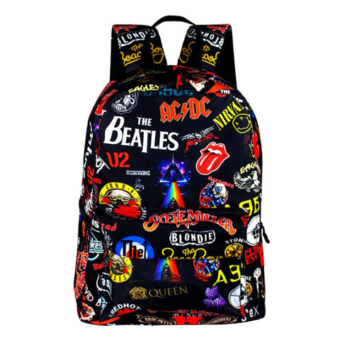 "Black Rock & Roll Band Logo Backpack (19"")"