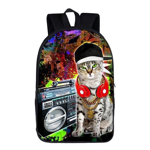Funny Street Kitty Rap Cat Backpack