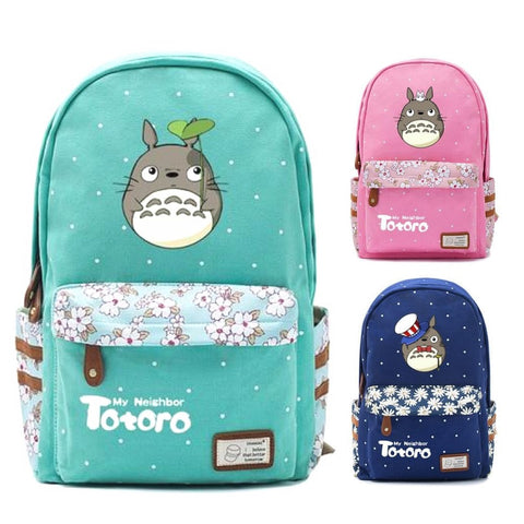 "Totoro Anime Backpack w/ Flowers (17"")"