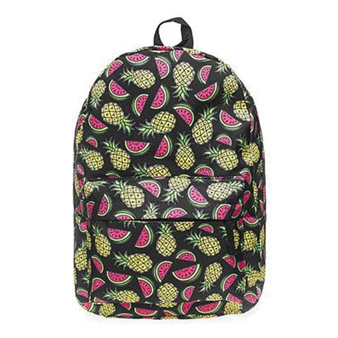 Canvas Watermelon + Pineapple Print Backpack