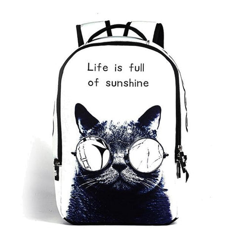 White Cool Cat Backpack