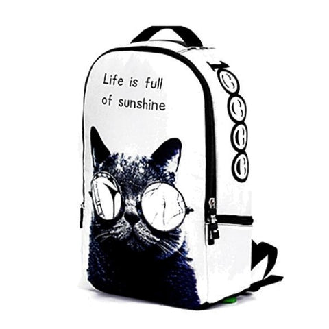 White Cat Backpack with Sunglasses