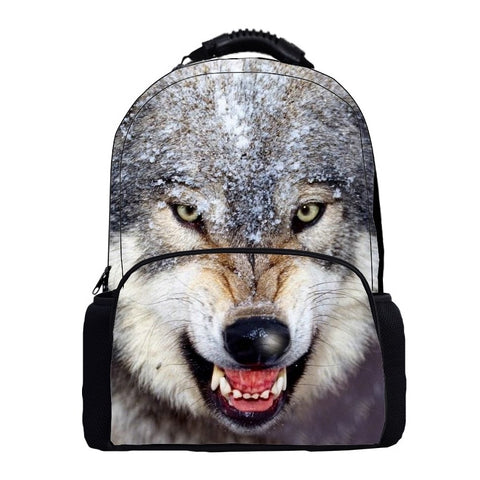 "Photographic Wolf Print Backpack (16"") Style 2 / Nylon"