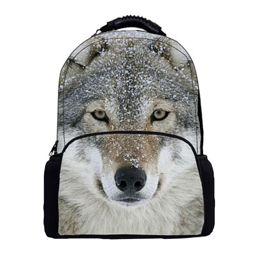 "Photographic Wolf Print Backpack (16"") Style 1 / Nylon"