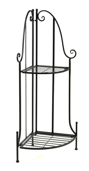 Iron Etagere corner 2 layer M.Black L43W30H97