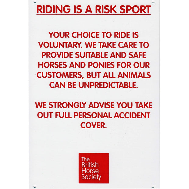 Riding is a Risk Sport Yard Sign