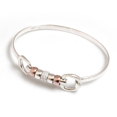 Sterling Silver & 18ct Rose Gold Plate Cherry Roller Snaffle Bangle With CZ Starlight Roller Bead