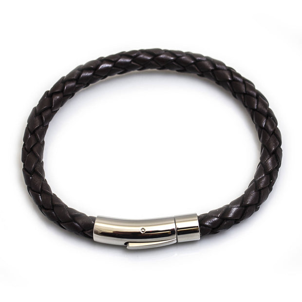 Leather Bracelet With Stainless Steel Clip Clasp