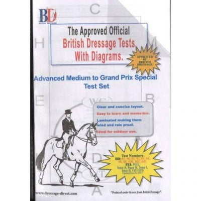 British Dressage Laminated Test Plans - Advanced Medium to Grand Prix Special