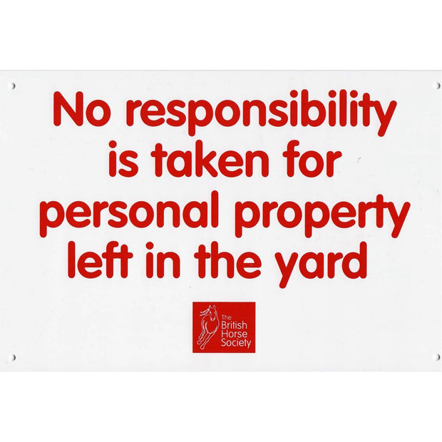 No Responsibility Yard Sign