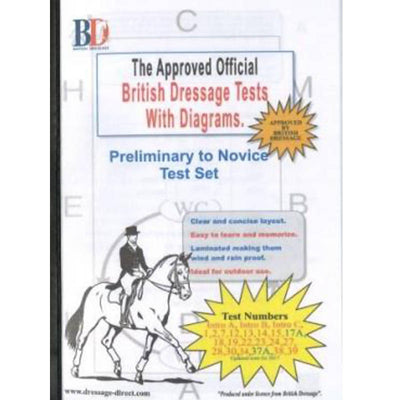 British Dressage Laminated Test Plans - Preliminary to Novice