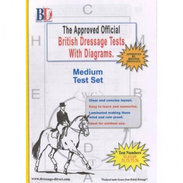 British Dressage Laminated Test Plans - Medium