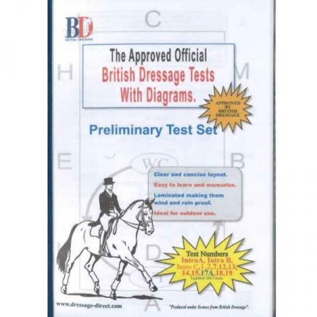 British Dressage Laminated Test Plans - Preliminary