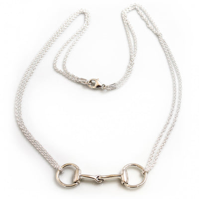 Sterling Silver Double Chained Snaffle Necklace