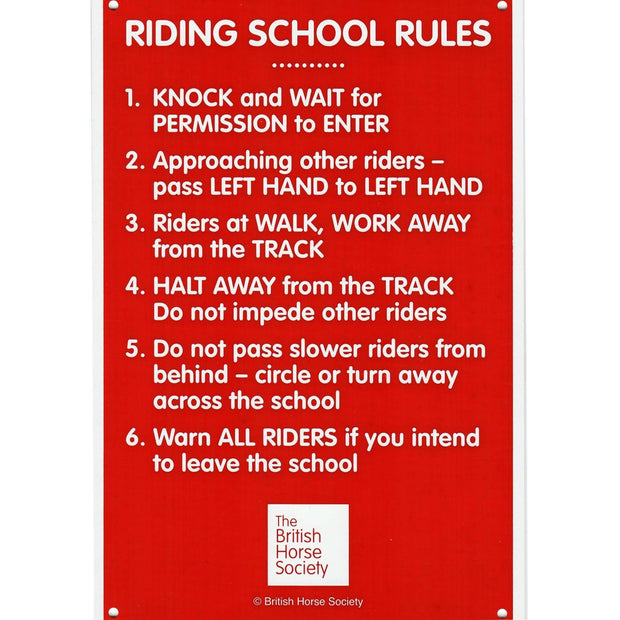 Riding School Rules Yard Sign