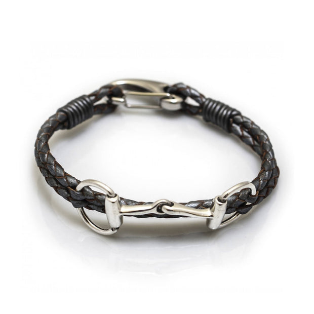 Sterling Silver Snaffle Leather Bracelet