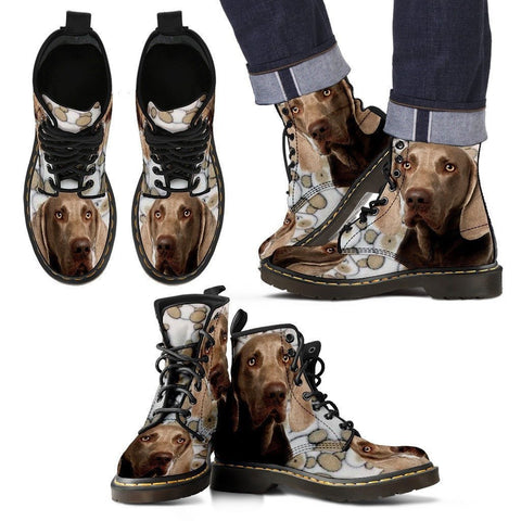 Weimaraner Print Boots For Men - Express Shipping