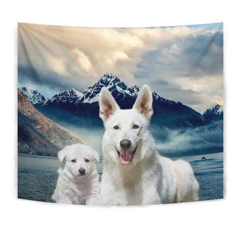 White Shepherd Dog Print Tapestry-Free Shipping
