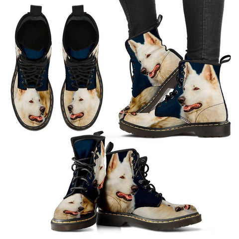 White Shepherd Print Boots For Women- Express Shipping