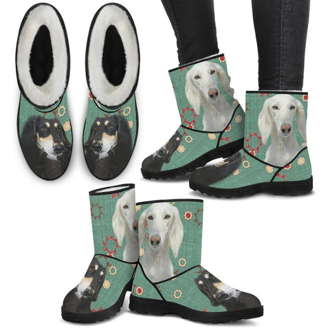 Saluki Print Faux Fur Boots For Women-Free Shipping