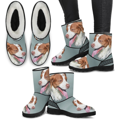 Brittany dog Print Faux Fur Boots For Women-Free Shipping