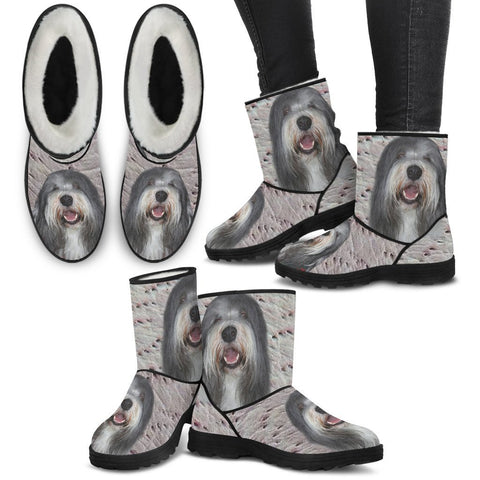 Bearded Collie Print Faux Fur Boots For Women-Free Shipping