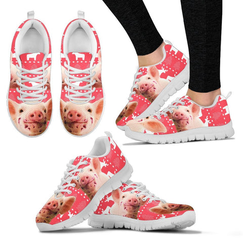 Red Wattle Pig Print Christmas Running Shoes For Women- Free Shipping
