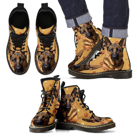 German Shepherd Print Boots For Men- Express Shipping