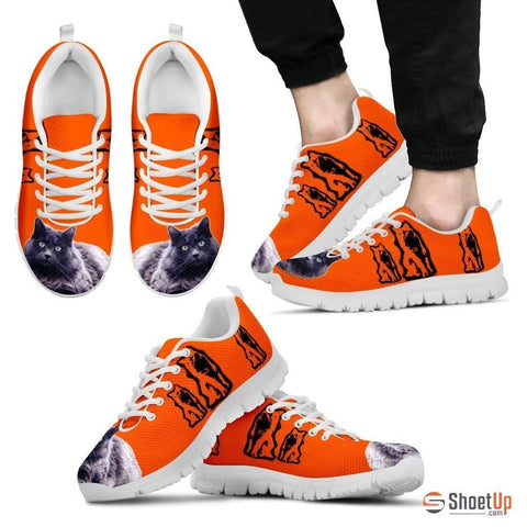 Nebelung Cat Print Sneakers For Men(White/Black)- Free Shipping