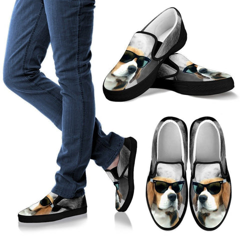 Beagle With Glasses Print Slip Ons For Women(Black)- Limited Edition- Express Shipping