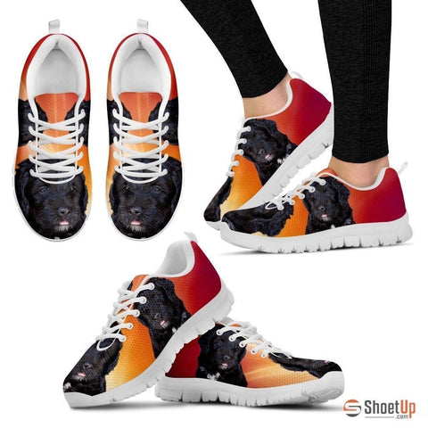 Barbet Dog (White/Black) Running Shoes For Women-Free Shipping