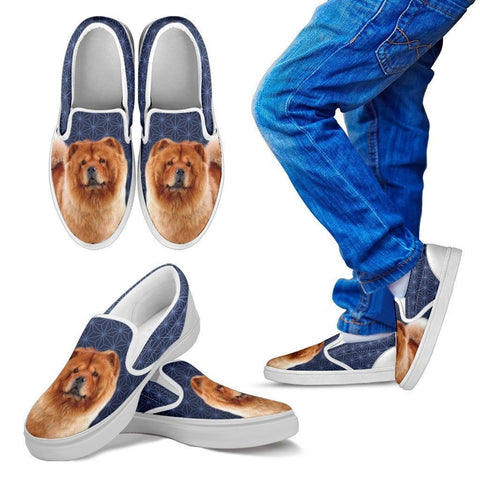 Chow Chow Dog Print Slip Ons For Kids-Express Shipping