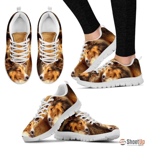 Customized Dog Print (Black/White) Running Shoes For Women-Free Shipping