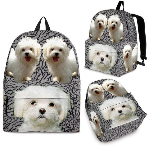 Maltese Dog Print BackPack - Express Shipping