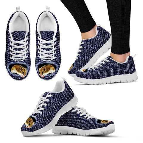Chinese Hamster Printed (Black/White) Running Shoes For Women-Free Shipping