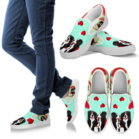 Bernese Mountain Dog Print Slip Ons For Women-Free Shipping