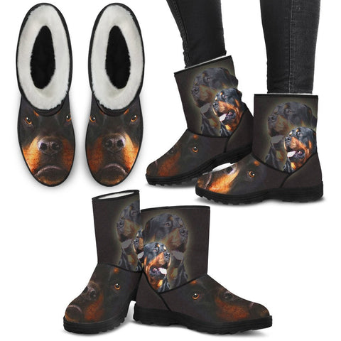 Rottweiler Print Faux Fur Boots For Women-Free Shipping