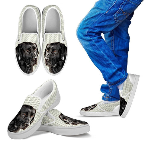 Black Labrador Print Slip Ons For Kids-Express Shipping