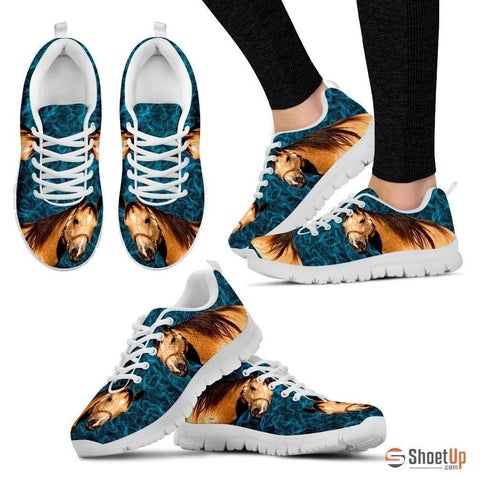 Quarter Horse Print (White) Running Shoes For Women-Free Shipping