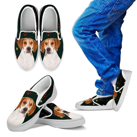 Harrier Dog Print Slip Ons For Kids-Express Shipping